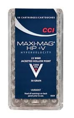 CCI 22 WMR Ammunition Maxi-Mag 0059 30 Grain HP+V Jacketed Hollow Point 50 Rounds