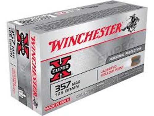 Winchester 357 Magnum Ammunition Super-X X3576P 125 Grain Jacketed Hollow Point 50 rounds