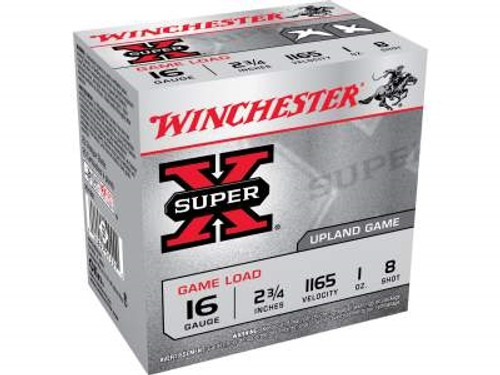 "Winchester 16 Gauge Ammunition Super-X XU168 2-3/4"" 1oz #8 1165fps 25 rounds"