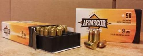 Armscor USA 9mm Ammunition FAC9-2N 115 Grain Full Metal Jacket CASE 1000 rounds