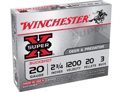 """Winchester 20 Gauge Super-X XB203 2-3/4"""" Buffered #3 Buckshot 20 Pellets 1200fps 5 rounds"""