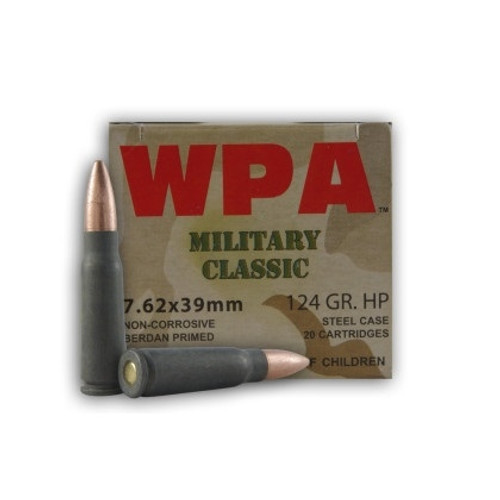 Wolf 7.62x39mm Ammunition Military Classic 124 Grain Hollow Point Steel 20 rounds