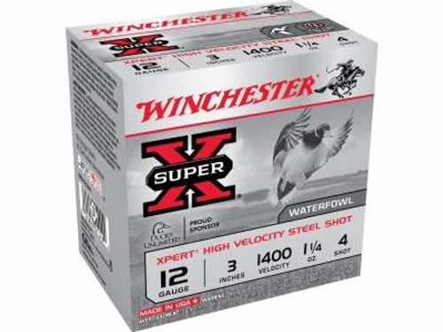 """Winchester 12 Gauge Xpert High Velocity Ammunition WEX123H4 3"""" 1-1/4oz #4 Non-Toxic Plated Steel Shot 1400FPS 250 rounds"""