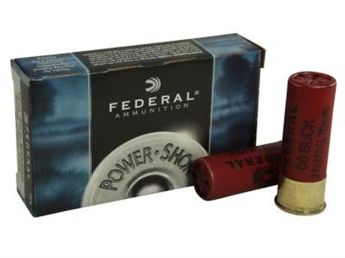 "Federal 12 Gauge Ammunition Power-Shok F13000 2-3/4"" Buffered 00 Buckshot 12 Pellets 1290fps 5 rounds"