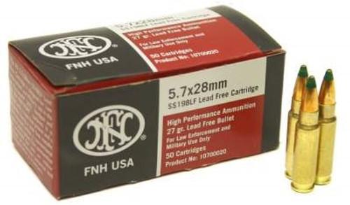 FNH 5.7x28mm Ammunition SS198LF 27 Grain Green Tip Hollow Point 50 Rounds