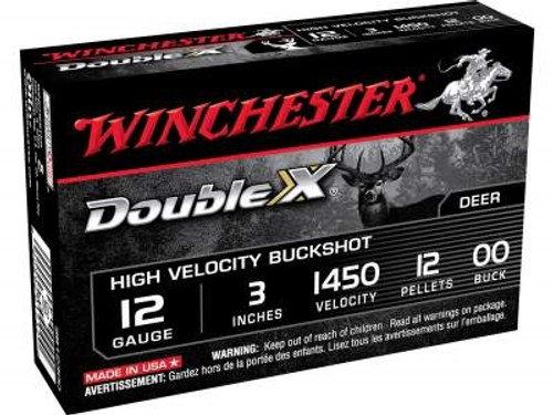 "Winchester 12 Gauge Ammunition Double X SB12300 3"" Copper Plated Buckshot 12 Pellets 1450fps 5 rounds"