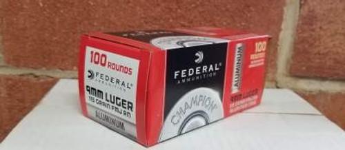 Federal Champion 9mm Ammunition Aluminum 115 Grain Full Metal Jacket 100 rounds