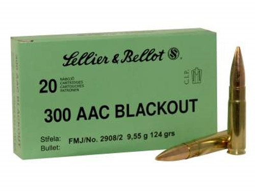 Sellier & Bellot 300 AAC Blackout Ammunition SB300BLKA 124 Grain Full Metal Jacket 20 rounds