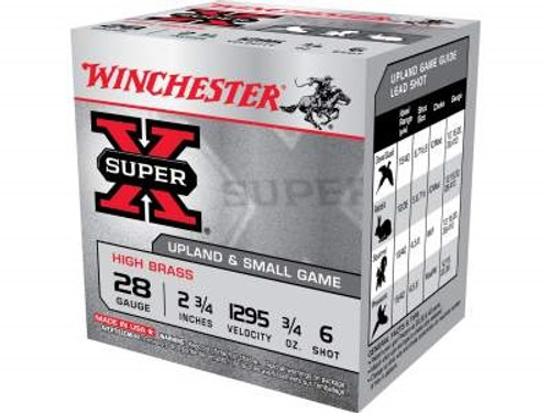 "Winchester 28 Gauge Ammunition X286 Super-X High Brass 2-3/4"" 3/4 oz 6 shot 1295fps 25 rounds"