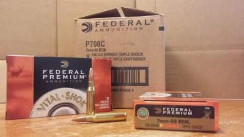 Federal 7mm-08 Vital-Shok P708C 140 gr Barnes Triple Shok Lead-Free 20  rounds