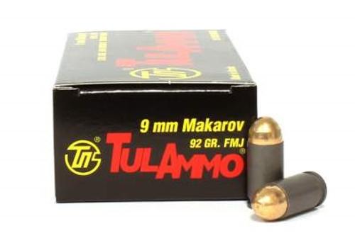 Tula 9x18 Makarov Ammunition TA918092 92 Grain Full Metal Jacket 50 Rounds