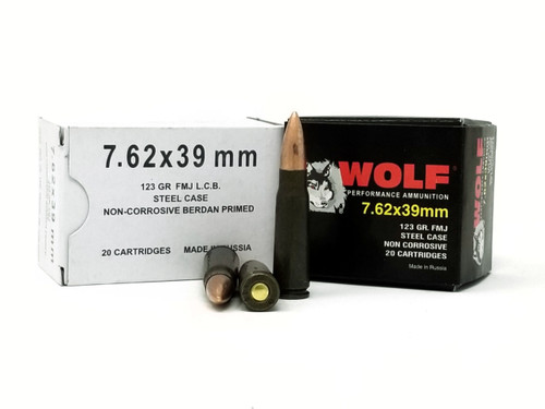 Wolf 7.62x39mm Ammunition 123 Grain Full Metal Jacket Lead Core Case of 1000 Rounds