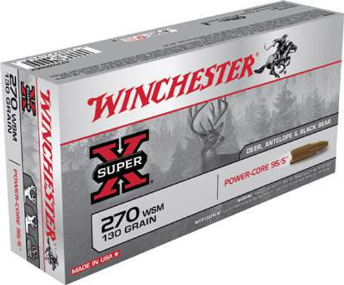 Winchester 270 WSM Super-X X270WSMLF 130 Grain Protected Hollow Point Lead-Free 20 rounds