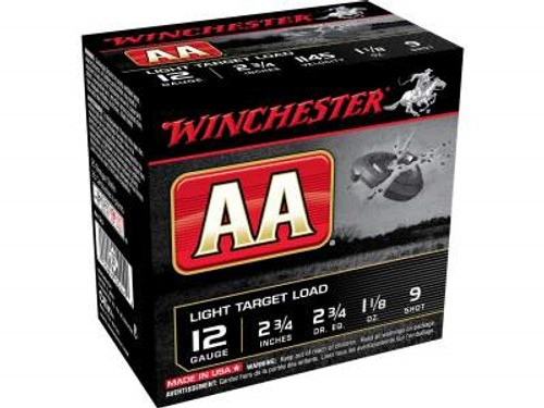 "Winchester 12 Gauge Ammunition AA Light Target AA129 2-3/4"" 1-1/8oz #9 Shot 1145fps 250 rounds"