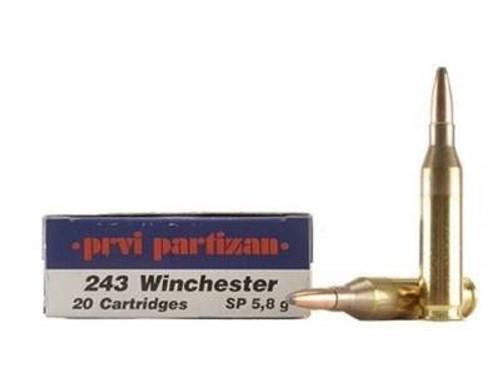 Prvi PPU 243 Win Ammunition PP25 90 Grain Soft Point 20 Rounds