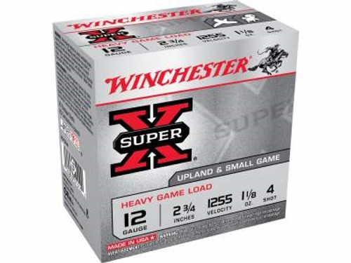 "Winchester 12 Gauge Ammunition Heavy Upland Game XU12H4 2-3/4"" 1-1/8oz #4 1255fps 250 rounds"