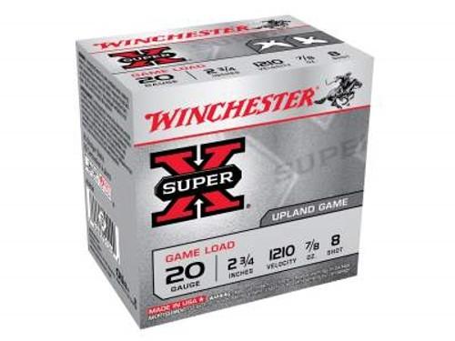 "Winchester 20 Gauge Ammunition Super-X 2-3/4"" 8 shot 7/8 oz 1210fps 25 rounds"
