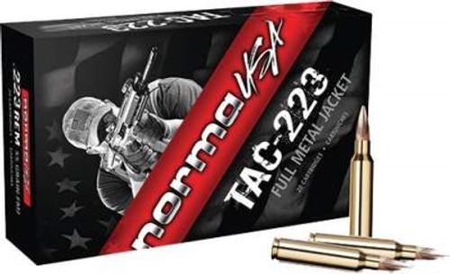 Norma USA 223 Rem Ammunition TAC-223 55 Grain Full Metal Jacket 20 rounds