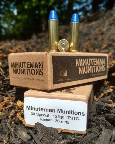 Minuteman Munitions 38 Special Ammunition Reman 125 Grain Polymer Coated 36 rounds