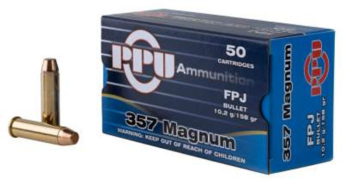 Prvi PPU 357 Mag Ammunition PPH357MF 158 Grain Flat Point Jacketed 50 Rounds