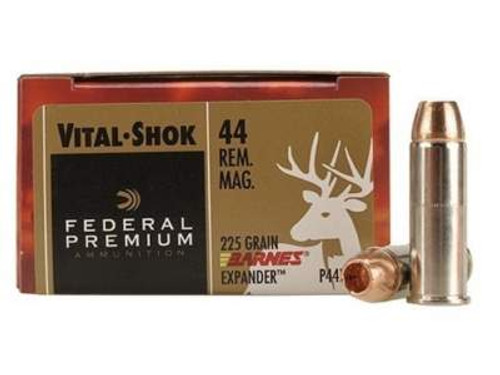 Federal 44 Magnum Ammunition Vital-Shok P44XB1 225 Grain Barnes XPB Hollow Point Lead-Free 20 rounds