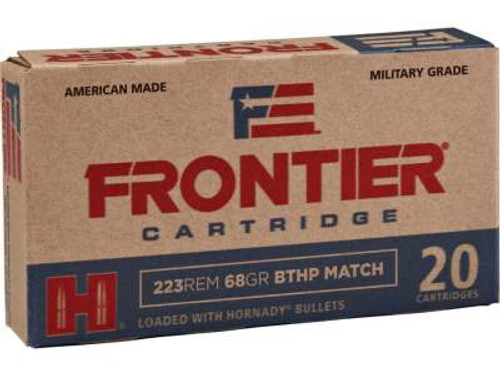 Hornady 223 Remington Military Grade Ammunition Frontier FR 68 Grain Boat Tail Hollow Point Match 20 Rounds