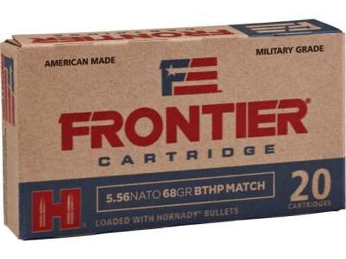 Hornady 5.56 NATO Military Grade Ammunition Frontier FR310 68 Grain Boat Tail Hollow Point Match 20 Rounds