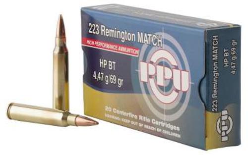 Prvi PPU 223 Rem Ammunition PPM2231 69 Grain Match Hollow Point Boat Tail 20 Rounds