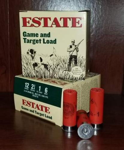 """Estate 12 Gauge Ammunition Promo Game & Target GTL126 2-3/4"""" Lead 6 Shot 1oz 1290fps Case of 250 Rounds"""