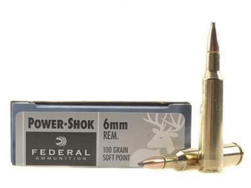 Federal 6mm Rem Ammunition Power-Shok 6B 100 Grain Soft Point 20 Rounds