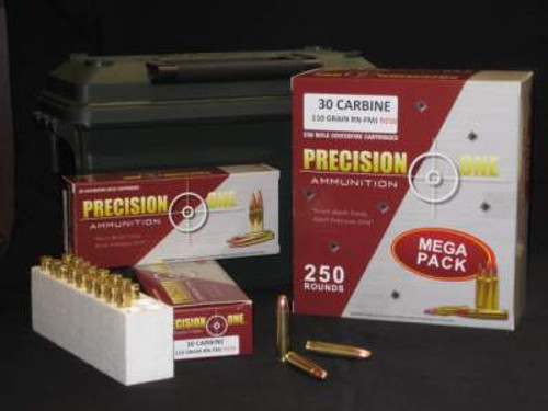 Precision One 30 Carbine Ammunition PONE258 110 Grain Full Metal Jacket Round Nose 20 rounds