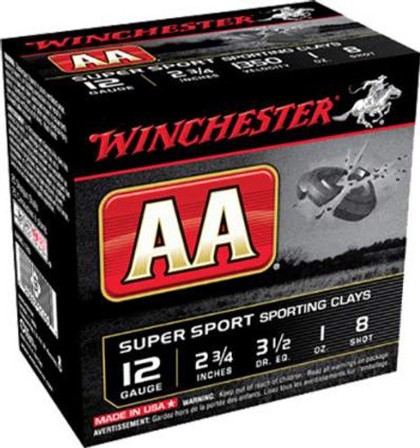 "Winchester 12 Gauge Ammunition AA Super Sport Sporting Clays AASCL128 2-3/4"" 8 Shot 1oz 1350fps 250 Rounds"