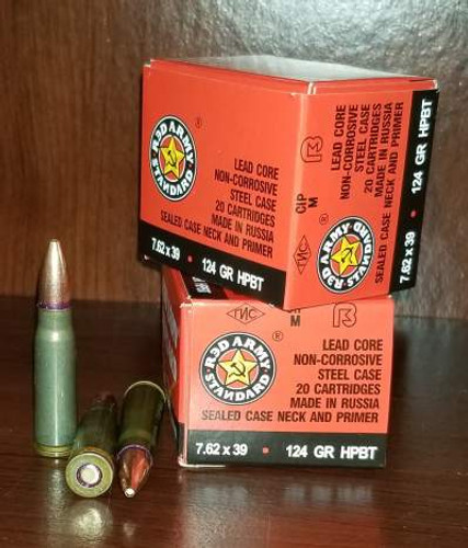 Century 7.62x39mm Ammunition Red Army Standard AM2458 124 Grain Hollow Point Boat Tail Sealed Neck Primer 20 Rounds