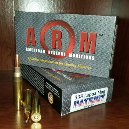 ARM 338 Lapua Mag Ammunition Patriot ARM338LM250PAT 250 Grain Grand Slam Soft Point 20 Rounds