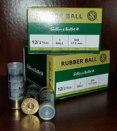 "Sellier & Bellot 12 Gauge Ammunition SB12RBA 2-3/4"" Rubber Ball 2-11/16oz 919fps 25 Rounds"