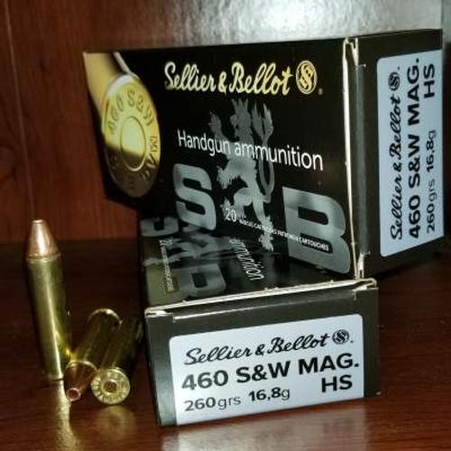 Sellier & Bellot 460 S&W Mag Ammunition SB460C 260 Grain HS Copper 20 Rounds