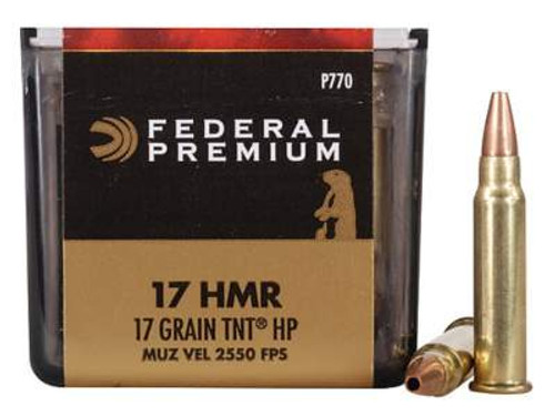 Federal 17 HMR Ammunition V-Shok P770 17 Grain Speer TNT Jacketed Hollow Point Case of 3,000 Rounds