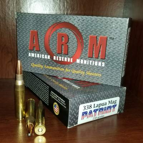 ARM 338 Lapua Mag Ammunition Patriot ARM338LM250PAT 250 Grain Grand Slam Soft Point Case of 120 Rounds