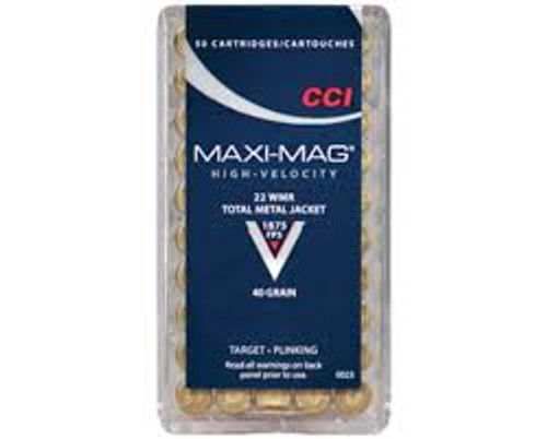 CCI 22 WMR Ammunition Maxi-Mag 0023 40 Grain Total Metal Jacket Case of 2000 Rounds