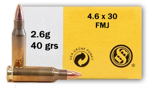 Sellier & Bellot 4.6x30mm Ammunition SB46A 40 Grain Full Metal Jacket 40 Rounds