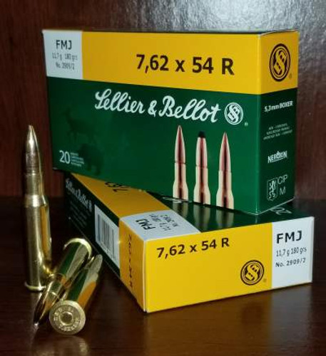 Sellier & Bellot 7.62x54R Ammunition Rifle Training SB76254RA 180 Grain Full Metal Jacket Case of 400 Rounds