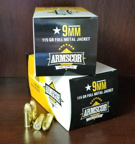 Armscor 9mm Ammunition ARM50444 115 Grain Full Metal Jacket Case of 1200 Rounds