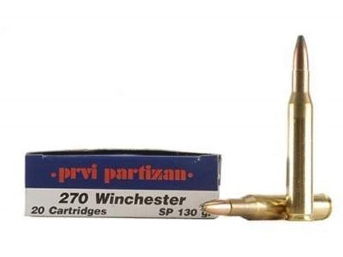 Prvi PPU 270 Win Ammunition PP26 130 Grain Soft Point Case of 500 Rounds