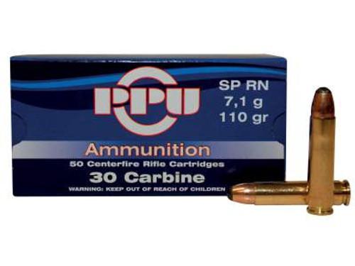 Prvi PPU 30 Carbine Ammunition Standard Rifle PP30S 110 Grain Soft Point 50 Rounds