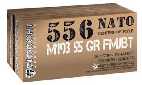 Fiocchi 5.56 NATO Ammunition Shooting Dynamics 556M193L 55 Grain Full Metal Jacket 50 Rounds