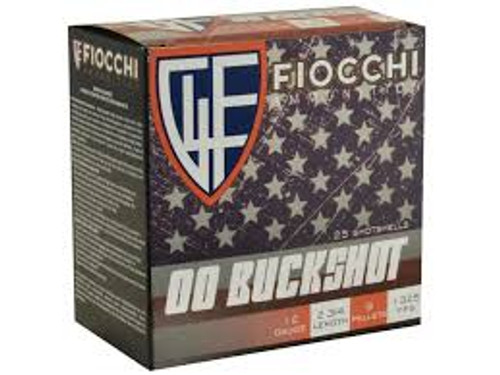 "Fiocchi 12 Gauge Ammunition 12MW00BK 2-3/4"" 00 Buck 9 Pellets 1325fps 25 Rounds"