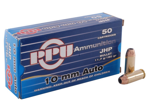 Prvi PPU 10mm Auto Ammunition PPD10 180 Grain Jacketed Hollow Point 50 Rounds