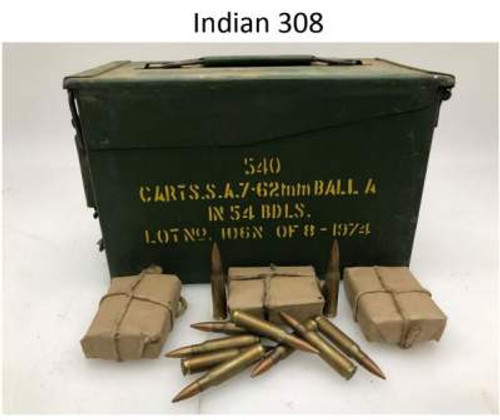 Indian 7.62x51mm Ammunition AM111 145 Grain Full Metal Jacket Lead Core Can of  540 Rounds