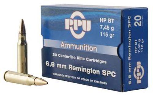 Prvi PPU 6.8mm Rem SPC Ammunition PP68H 115 Grain Hollow Point Boat Tail 20 Rounds