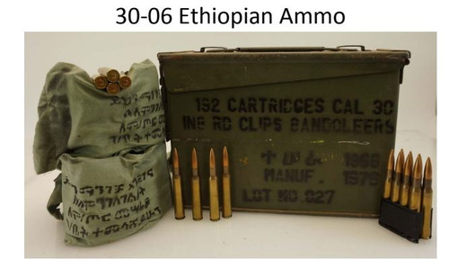 Ethiopian 30-06 Ammunition AM2965A 150 Grain Full Metal Jacket Lead Core Can of 192 Rounds
